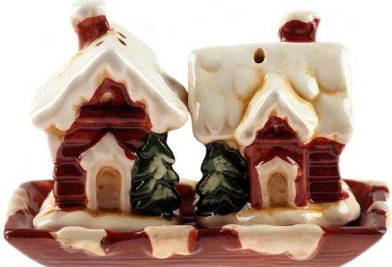 Ceramic Salt And Pepper Snow Covered House Christmas Cruet Set